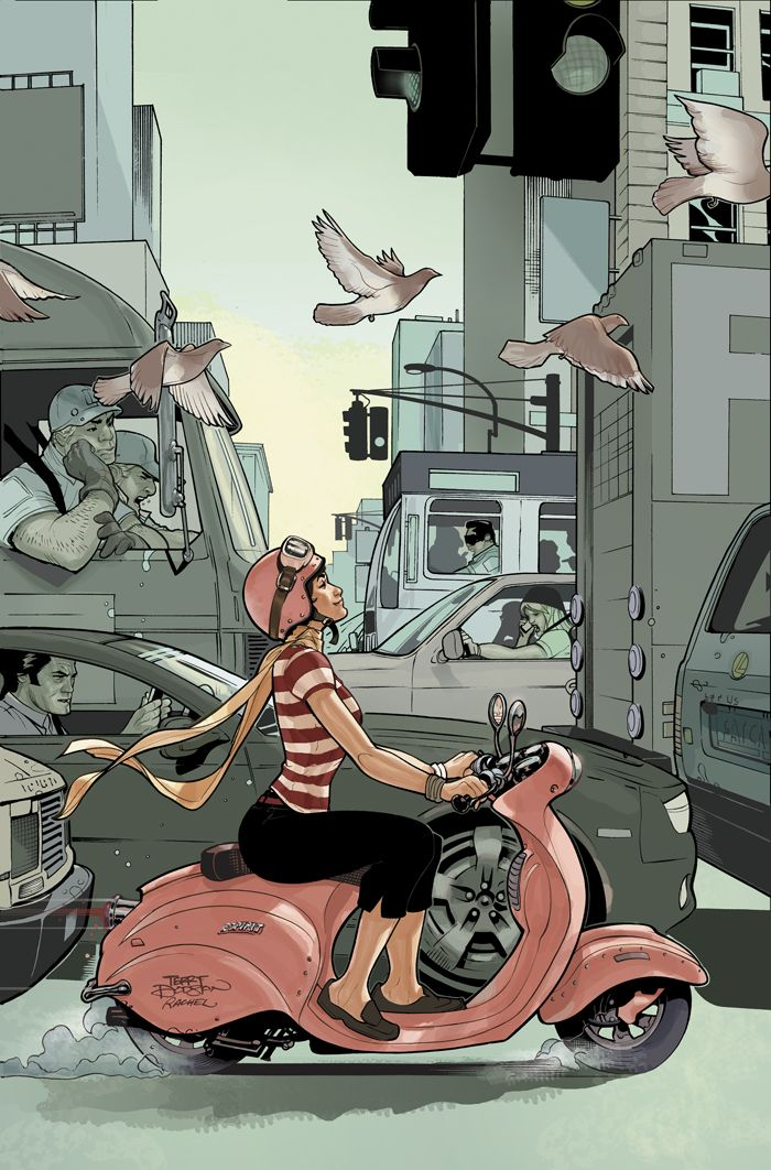 CBLDF Liberty Annual 5 cover by Terry DodsonTerry O'Neil, Vector Illustration, Terrydodson, Terry Dodson, The Artists, Comics Book, Norman Rockwell, Scooters Girls, Motorcycles Girls