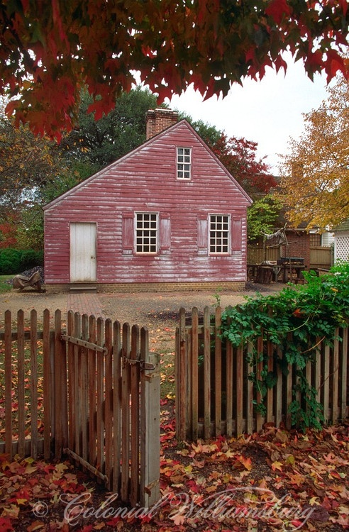 Old Weathered Red Saltbox...picket fence...Colonial Williamsburg.