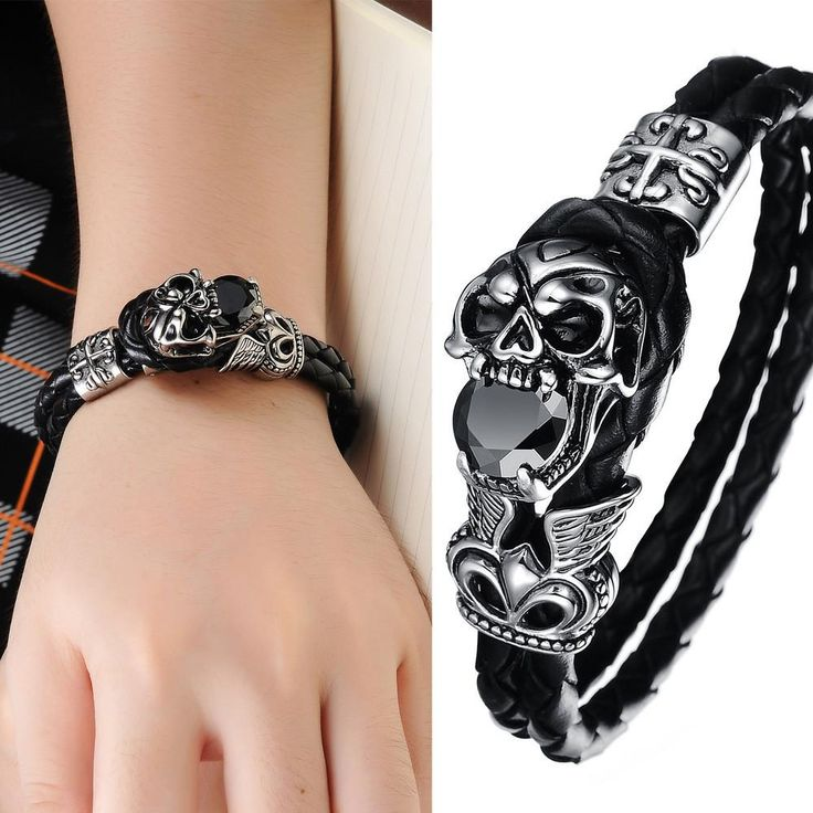 New Arrival 2016 Genuine Leather Titanium Stainless Steel Jewelry Cool Punk Skull Men's Bracelets