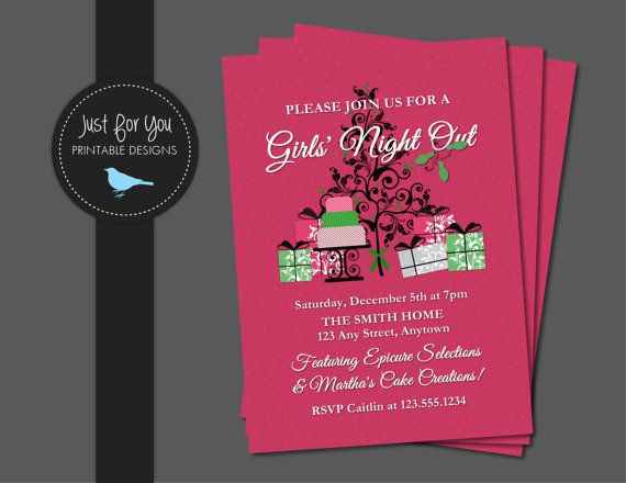 Christmas Invitation - Girls Night Out - Home Party - Dessert Party - Cookie Exchange - Lia Sophia, Thirty One Gifts, 31 Gifts, Pampered Chef, Epicure, Tupperware, Regal, Avon, Mary Kay