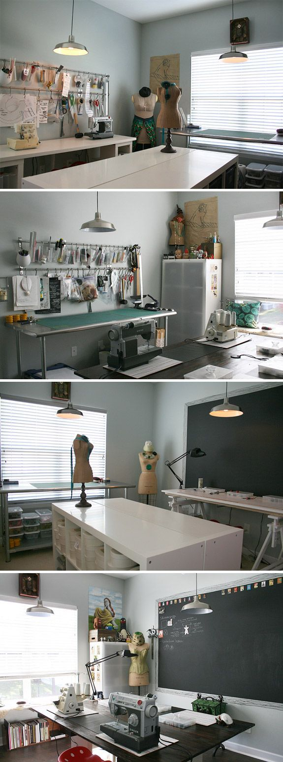 sewing room. If I had this room in my house, I would eat, sleep, and die in it. So jealous.