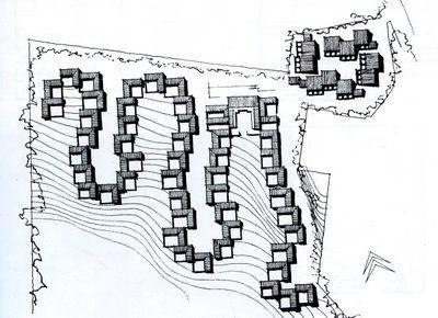 Jorn Utzorn, osiedle Fredensborg, 1959-62, Dania, prosty pulpitowy dach, bliskie sąsiedztwo, gradacja od przestrzeni prywatnej do publicznej, układ warstwic, dojazdy z sięgaczami, zindywidualizowana przestrzeń prostych domów atrialnych, kominy