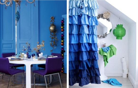 blue and green VINTAGE & CHIC: decoración vintage para tu casa [] vintage home decor: Mapesbury Road & Marianne CotterillShower Curtains