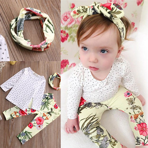 >> Click to Buy << 3pcs Baby Girls Kids Tops T-shirt Leggings Trousers Headband Outfits Set Costume #Affiliate