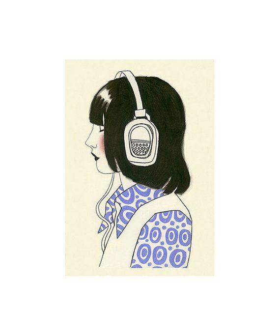 "Fashion Illustration art print - 4 for 3 SALE New York Listener II - 8.3"" X 11.7"" print"
