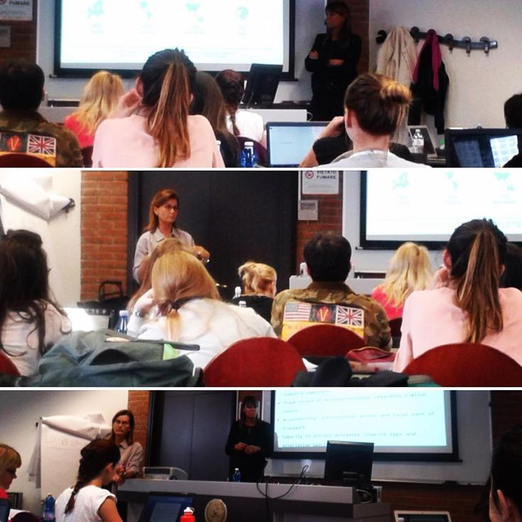 """Patrizia Buongiorno, AIM Group International Vice President, and Flaminia Roberti, AIM Group International Global Sales Director, during their lecture on """"Competing for international events: the bid""""- Master in Tourism Management (XII edition)"""