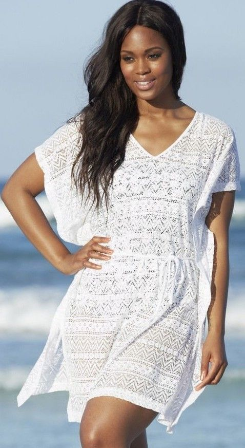 Plus size swimsuit cover up white - http://www.boomerinas.com/2013/03/02/beach-cover-ups-for-women-plus-size-tunics-dresses-caftans-sarongs/