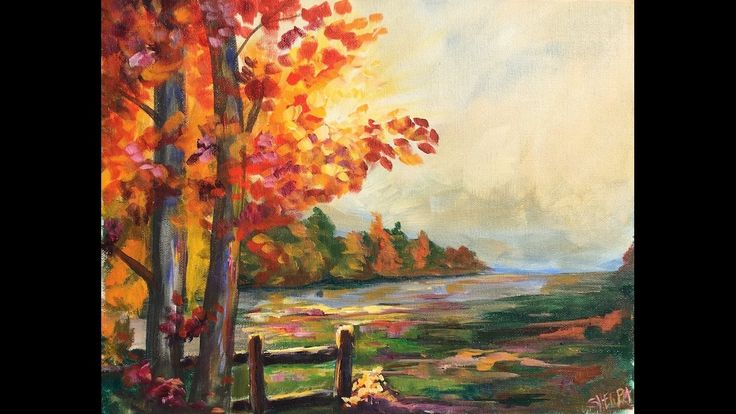 Beginner Learn to paint a Landscape Full acrylic for Fall /Autumn lovers