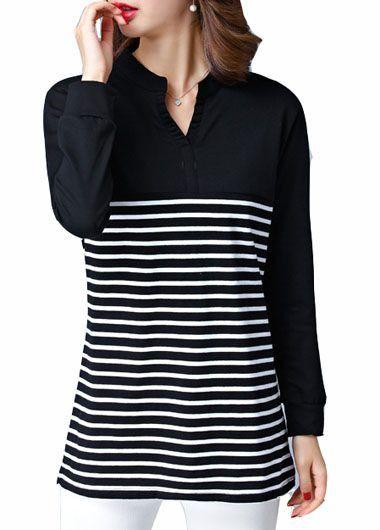 Stripe Print Long Sleeve Black T Shirt on sale only US$24.48 now, buy cheap Stripe Print Long Sleeve Black T Shirt at lulugal.com