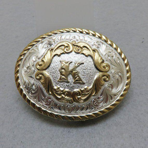 "Montana Silversmiths Initial /""K/"" Buckle Silver"