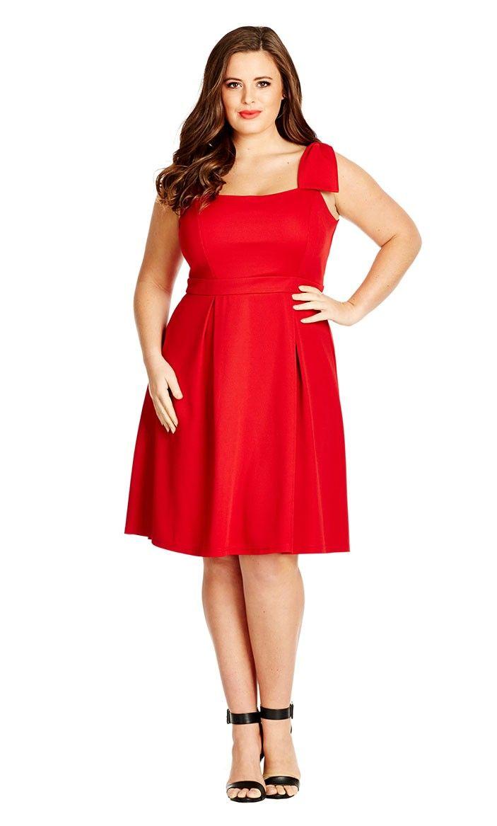 Plus Size Bow Shoulder Swing Dress - City Chic