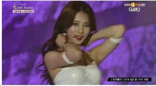 OOPS: Miss A Suzy suffers a slight wardrobe malfunction at the Gaon Chart K-POP Awards