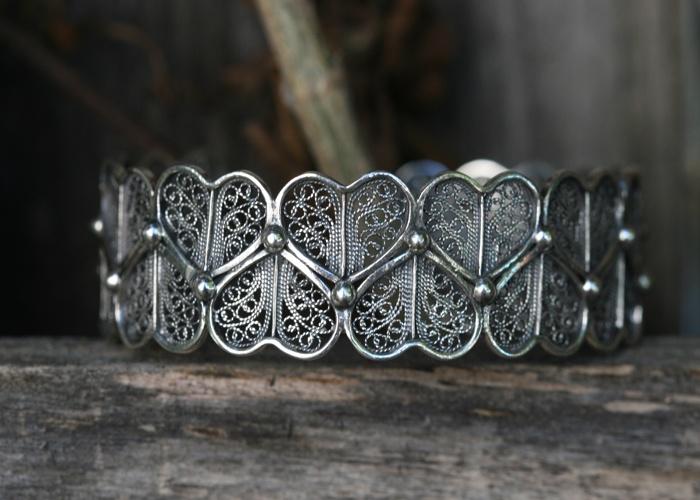 Portuguese SABRINA LACE Bracelet    oxidized sterling silver