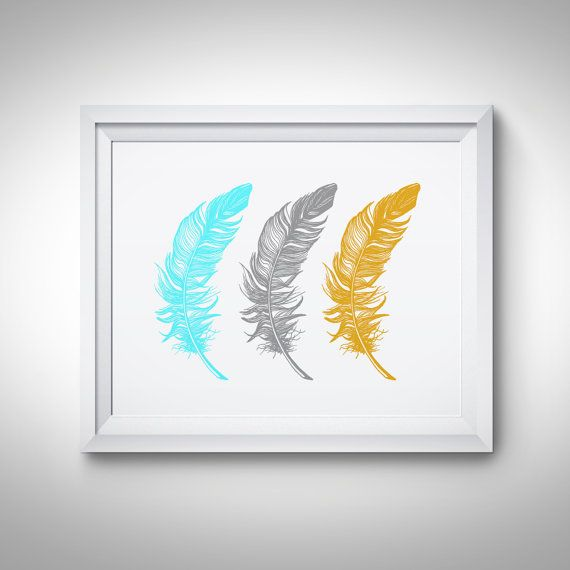 Feathers Wall art Print Mustard Teal Grey by ...
