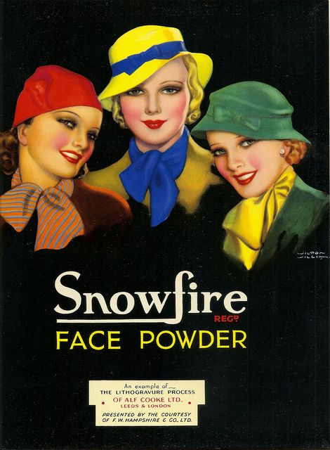 via mothgirlwings:    Snowfire Face Powder ad - 1936  Artist:  Wilton Williams