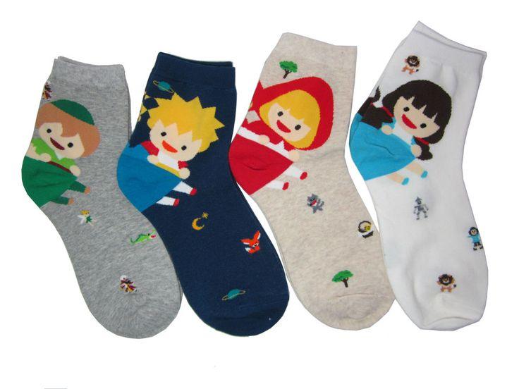 Fairy Tale Character Socks 4 Pairs Color Women Kid Cute Sneakers Funny Novelty  #GGORANGNAE #Casual #CharacterSocks #women #Kid #Girl #Lady #Funny #Novelty #Pattern