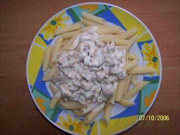 Zobrazit detail - Recept - Těstoviny s kuřecím masem a smetanovou omáčkou