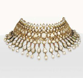 DIAMOND AND PEARL INDIAN CHOKER NECKLACE