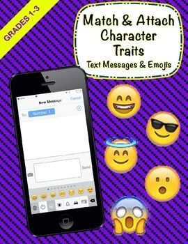 """Your students will not be able to put their iPhones down, and in the process will be learning to """"read between the lines"""" while they infer character traits for the text message provided. After reading a text message on an iPhone, students will find the correct corresponding """"emoji text response"""" (character trait) and attach it on the response line of the iphone."""