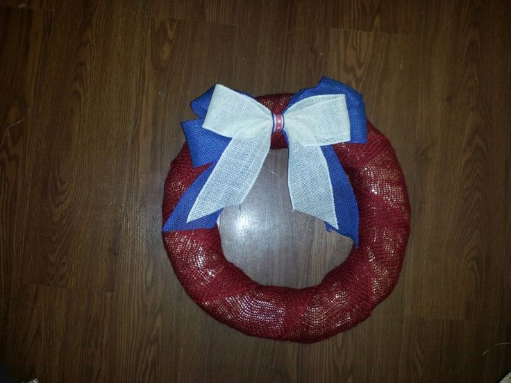 Red white blue burlap ribbon wreath craft ideas pinterest for Burlap ribbon craft ideas