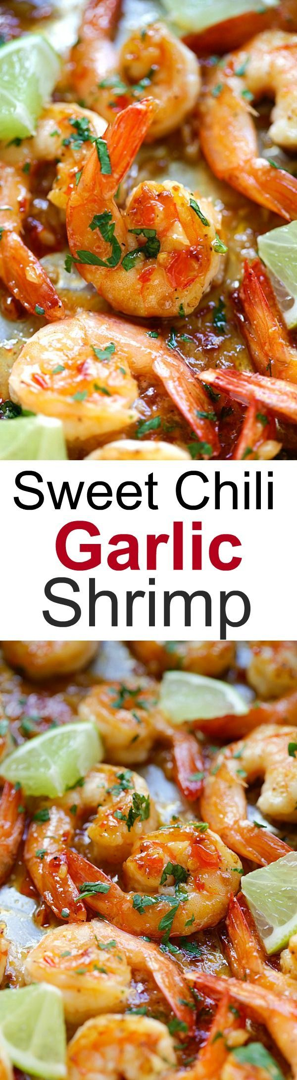 Sweet chili-garlic shrimp – easiest and most delicious shrimp you can make in 15 mins. Sticky sweet, savory with a little heat. SO good! | rasamalaysia.com