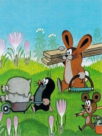 (2014-09) #Muldvarpen, haren og musen kommer med byggematerialer #littlemole #miler #illustration #krtek