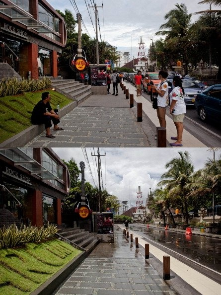 in this composite image an active Kuta Beach street is seen on March 9, 2013 and bottom, the same street is seen on Nyepi day on March 12, 2013 in Denpasar, Bali, Indonesia.