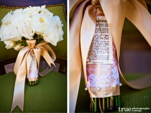 Pinning a bible verse to bouquet