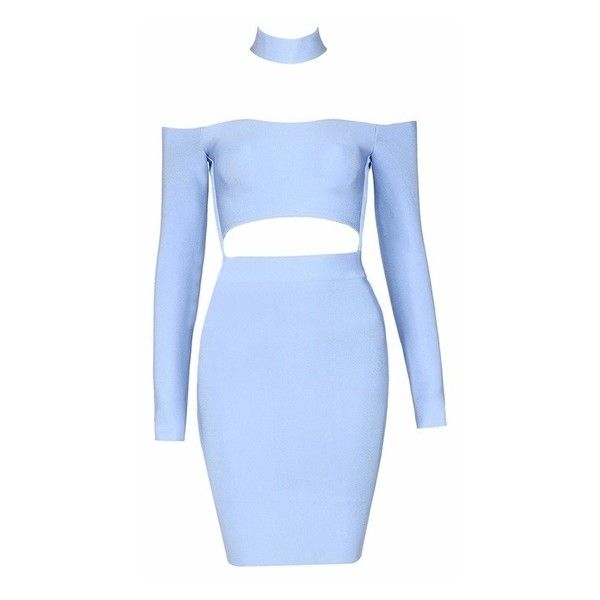 Good Life Light Blue Long Sleeve Mock Neck Off The Shoulder Cut Out... ($120) ❤ liked on Polyvore featuring dresses, light blue dress, bodycon dress, long sleeve mini dress, blue dress and short blue dresses