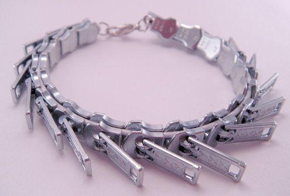 Zippity Doo Dah Silver Zipper Threaded Bracelet 7 by luv4sams, $22.00