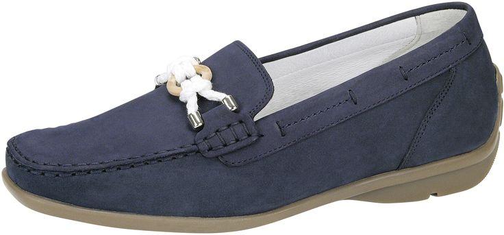 mocassin van Wäldlaufer, donkerblauw nubuck leer, uitneembaar voetbed - Sluimer schoenen