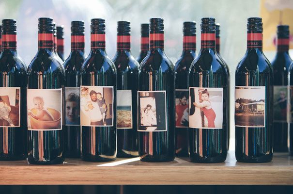 Love this idea with photos of guests so they can try to find the bottle with their photo on it!