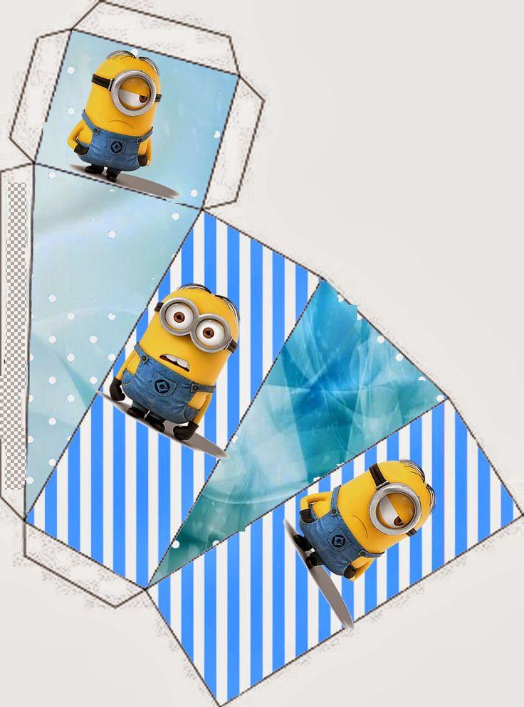 Minions on Blue Background: Free Printable Mini Kit.