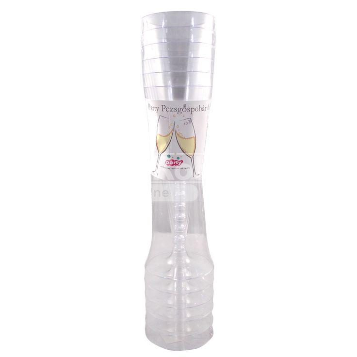 Party műanyag eldobható pohár pezsgős 1,3 dl 6 db