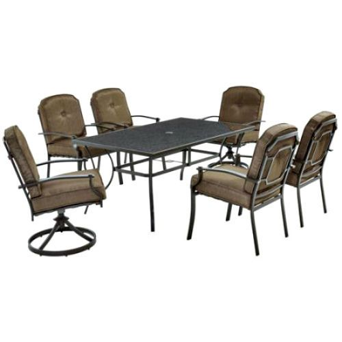 7Piece Patio Dining Set 6Seater Outdoor Furniture Table Armchairs 2 Swivel Chair #Mainstays