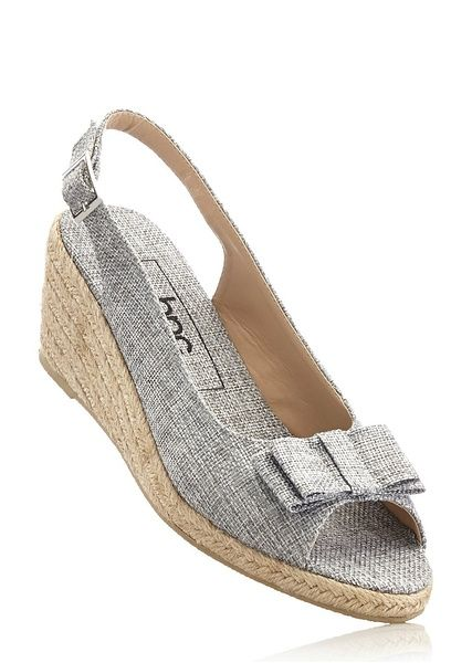 Sandały na koturnie bonprix szary - 941152