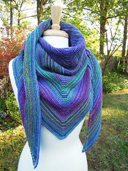 A Basic Garter Stitch Striped Triangular Shawl.