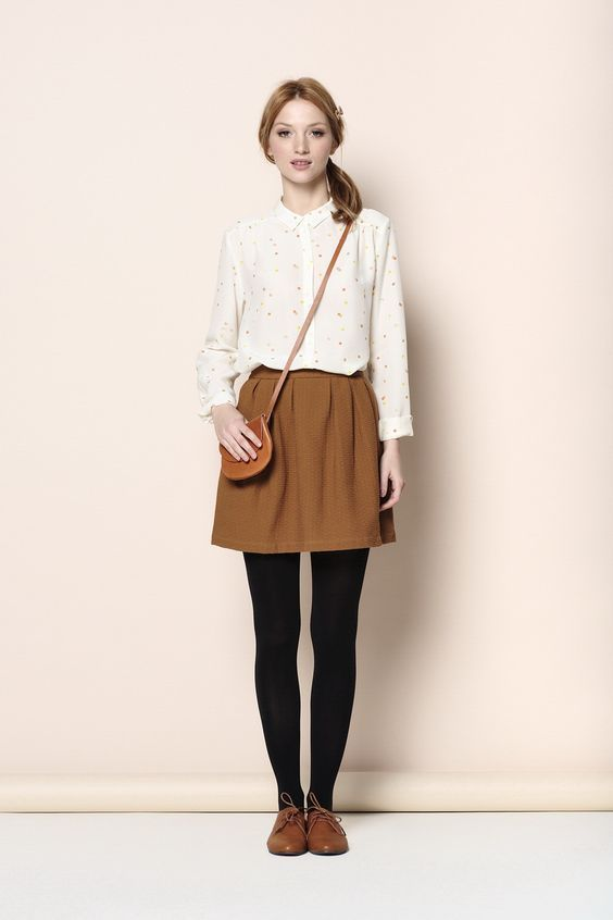 3bf9353c7b Des Petits Hauts Brown skirt, white blouse (patterned blouse), black  tights, brown shoes, brown bag