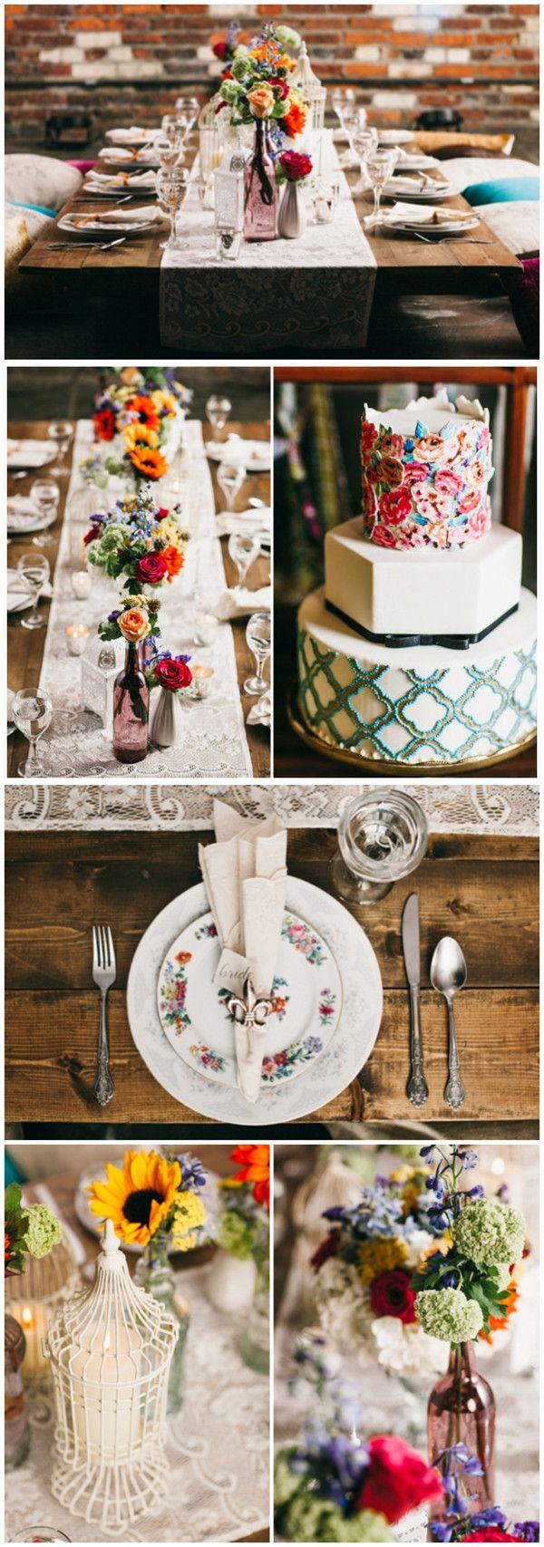 bunte Vintage Bohemian Hochzeit Inspiration Tischdeko Hochzeitstorten Dekoideen