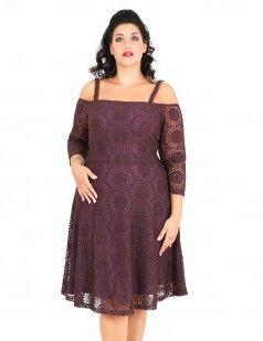 Dark bordeaux lace bardot neck flare dress - Burgundy-for plus size girls