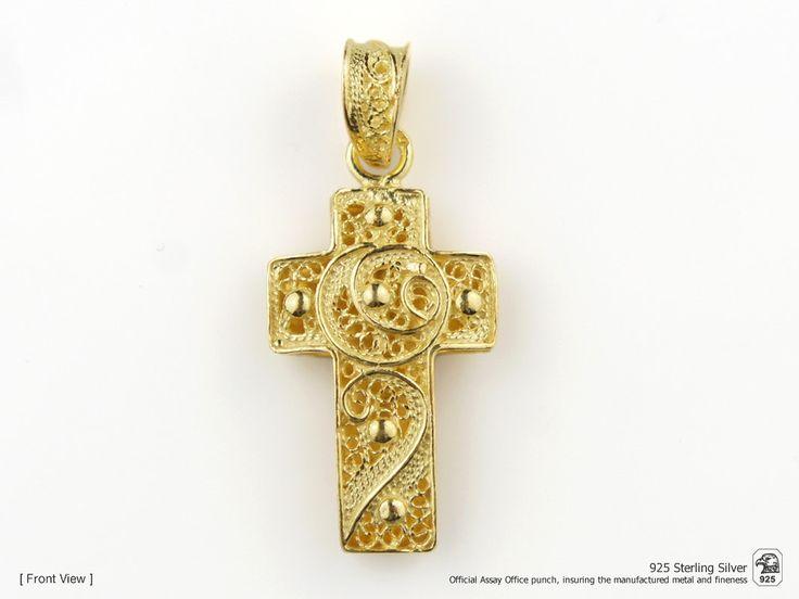 Portuguese Filigree PENDANT Cross (2,5cm) Viana Traditional in 925 Sterling Silver w/ 24k Gold Bath by NadirFiligree on Etsy