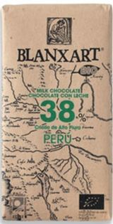 Blanxart 125g. Ciocolata organica, cu lapte, 38% cacao Peru. BIO
