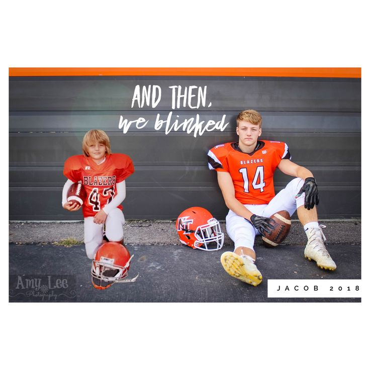 """And then we blinked..."" Portrait of a Senior Photo in his football gear and a throwback photo, to his first year playing football in 3rd Grade. #senior #senioryear #amyleephotography #andthenweblinked #seniorpictures #guysseniorphotos #footballseniorphotos"