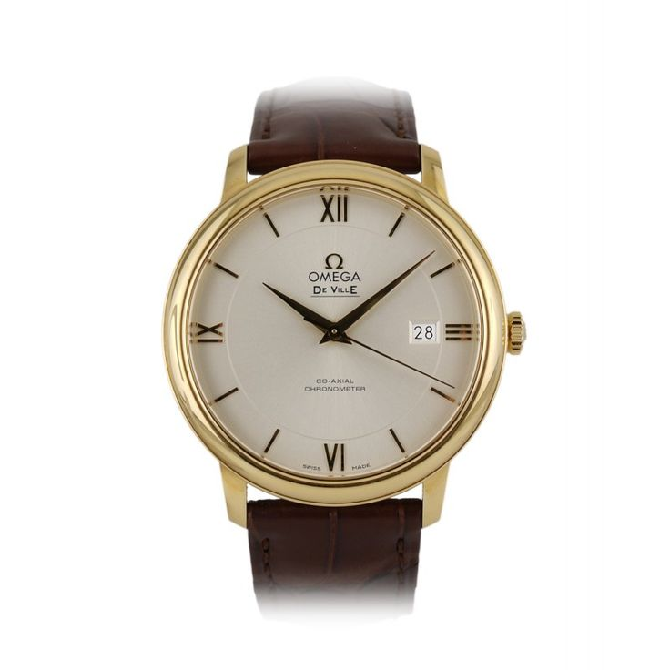 Omega De Ville men's 18ct Gold watch supplied with brown leather strap and set with a silver dial. Powered by self-winding co-axial chronometer movement. Click for info http://www.globalwatchshop.co.uk/catalogue/omega-watches/omega-de-ville-mens-18ct-gold-with-leather-strap.html