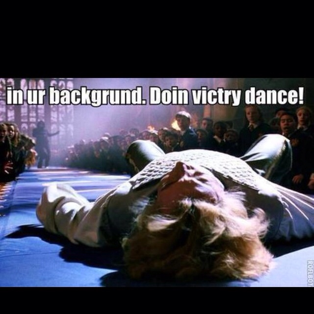 I literally burst out laughing. Snape's victory dance.