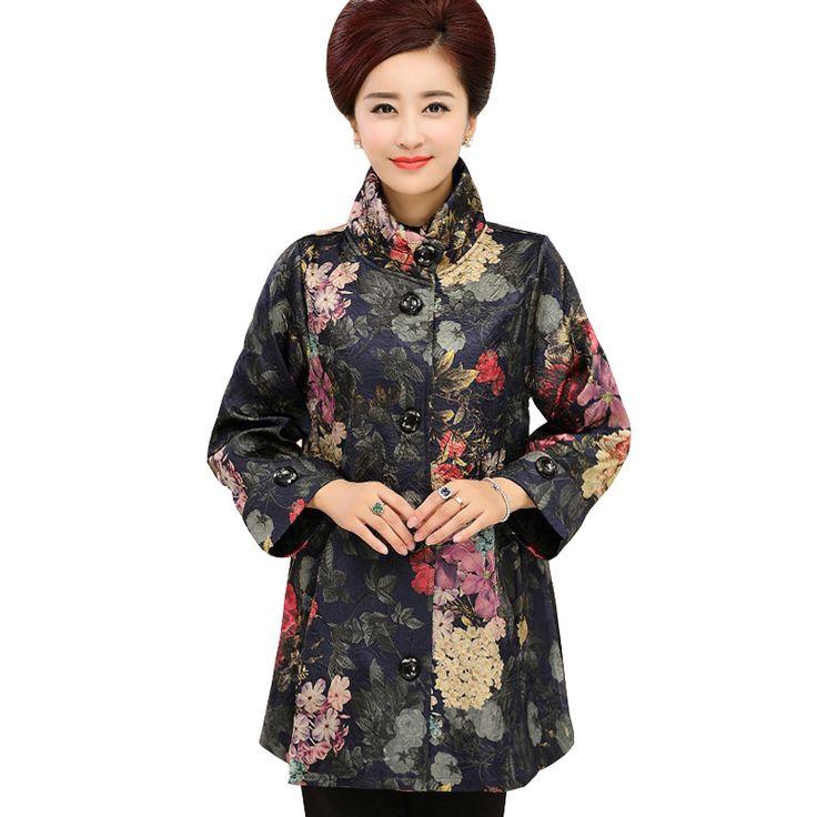 Pendatang baru Merek Pakaian wanita musim gugur pakaian luar jaket Ibu Longgar Kasual Wanita Flower Cetakan Ditambah Ukuran Mantel Jaket