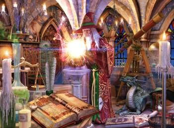 """""""The Wizard's Tower"""" by David Penfound, 1000p jigsaw puzzle, Express Gifts ltd."""