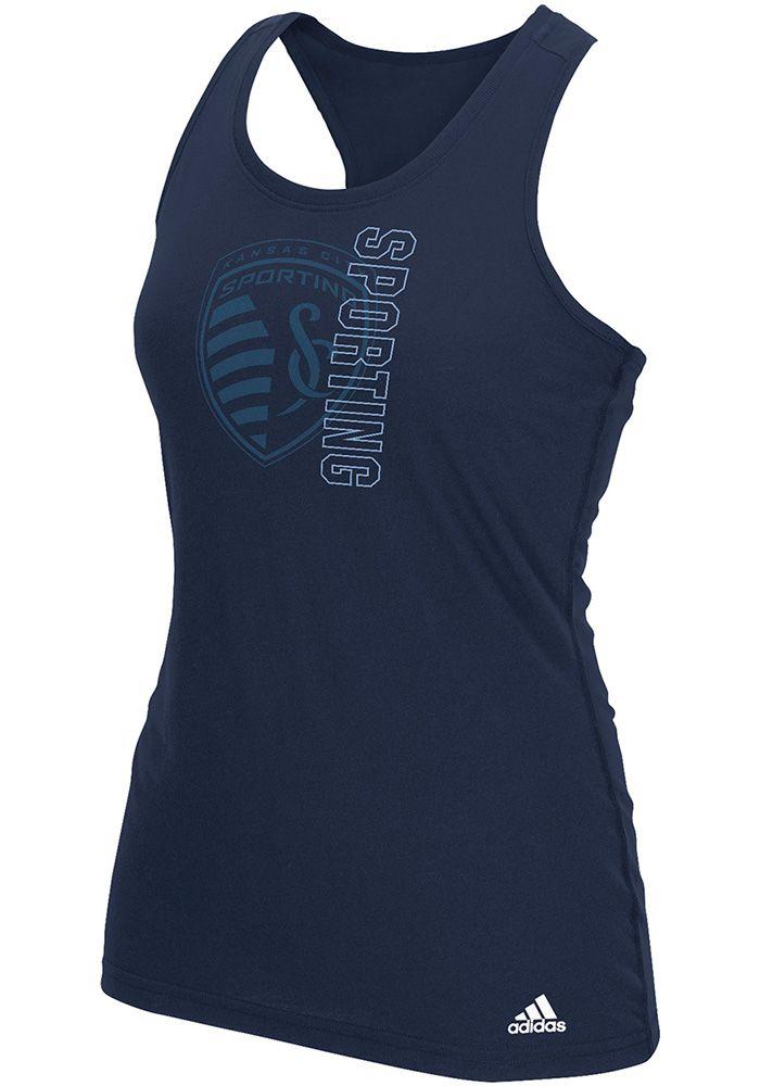 Adidas Sporting Kansas City Womens Navy Blue Vertical Open Tank Top