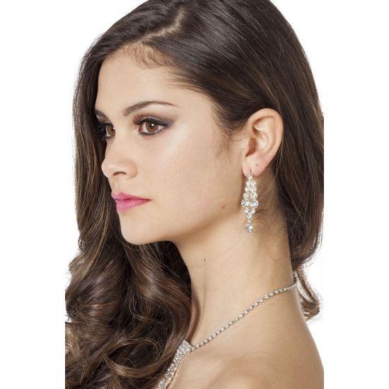 Oorbellen met glinsterende strass steentjes. Mooie hangers met glimmende nep diamantjes.