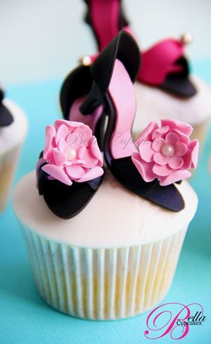 Shoes on top of cupcakes! This would be so cute for a
